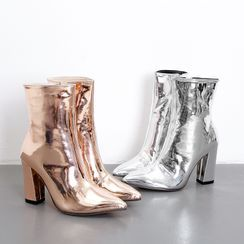 Niuna(二ウナ) - Block-Heel Metallic Short Boots