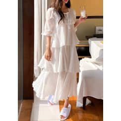 chuu - Lace-Bib Ruffled Long Pajama Dress