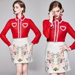 Yonna - Set: Mesh Ruffle Trim Shirt + Floral Embroidered Pencil Skirt