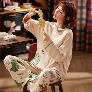 Ribbonsong - Pajama Set: Dinosaur Print Long-Sleeve T-Shirt + Pants