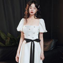 OOMEI - Puff-Sleeve Faux Pearl Midi A-Line Dress