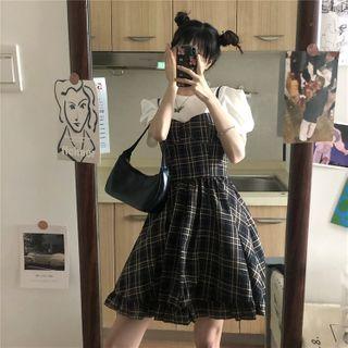 Baage - Puff-Sleeve T-Shirt / Spaghetti Strap Plaid A-Line Mini Dress