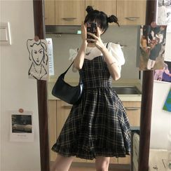 Baage - Balloon-Sleeve T-Shirt / Plaid Pinafore Dress