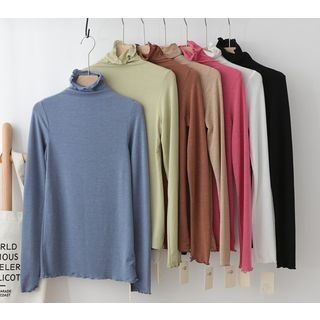LEMONADE - Frilled Long-Sleeve Turtleneck T-Shirt