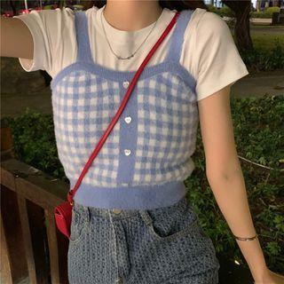 VeryBerry - 短袖純色短款上衣/格子吊帶背心