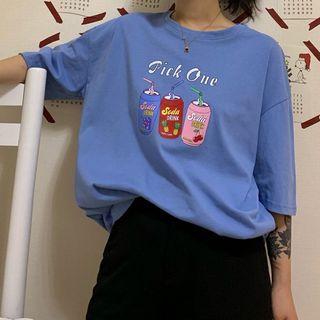 Honey River - 短袖飲料印花T裇