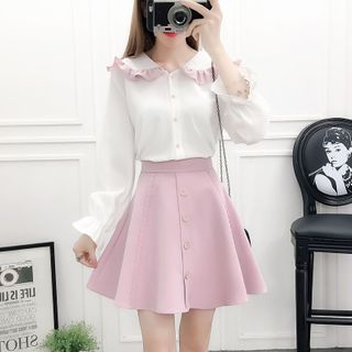 Petit Lace - Set: Contrast Trim Ruffled Shirt + A-Line Skirt