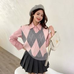 Alfie - Two-Tone Knit Vest / Long-Sleeve Shirt / Pleated Skirt