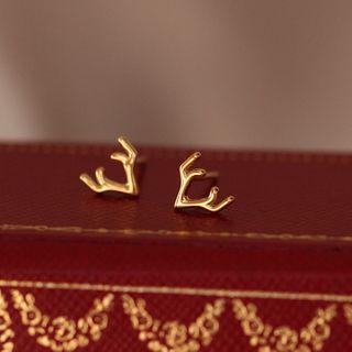FOON - 925 Sterling Silver Deer Horn Earring