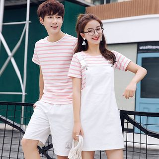 Azure - Couple Matching Striped Short-Sleeve T-Shirt / Pocketed Suspender Dress / Applique Shorts