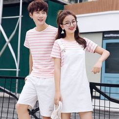 Azure(アズール) - Couple Matching Striped Short-Sleeve T-Shirt / Pocketed Suspender Dress / Applique Shorts