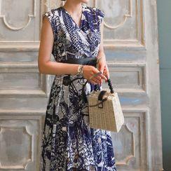 Cassidy - Sleeveless Print A-Line Midi Dress