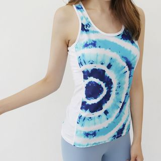 DANI LOVE - Tie-Dye Mesh-Trim Sports Tank Top