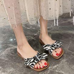 FiE FiE(フィエフィエ) - Print Bow Flat Slide Sandals
