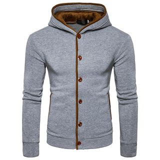 Sheck - Contrast-Trim Patched Hooded Cardigan