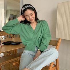FROMBEGINNING - V-Neck Color Knit Cardigan