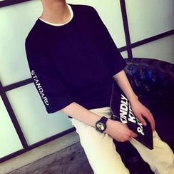 Acrius(アクリウス) - Lettering Elbow-Sleeve T-Shirt