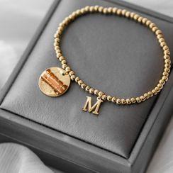 MOMENT OF LOVE - Stainless Steel Disc Letter M Bracelet