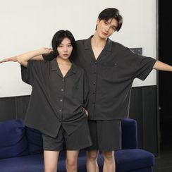 Cinni - 情侶家居服套裝: 中袖襯衫 + 短褲