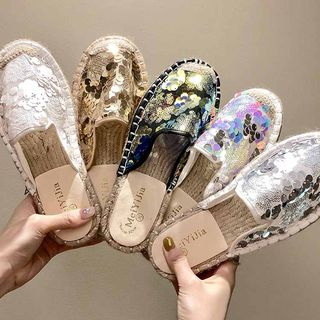 Shanhoo - Sequined Mule Sneakers