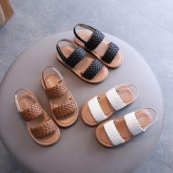 Doradas - Kids Velcro Woven Strap Flat Sandals
