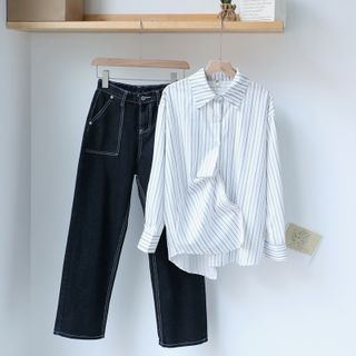 Gretchen - Striped Shirt / Straight-Fit Jeans