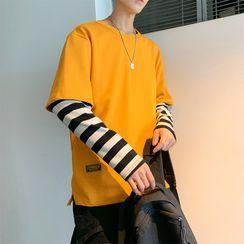 Lorencho - Couple Matching Long-Sleeve Mock Two Piece T-Shirt