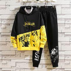 Bay Go Mall - Set: Printed Hoodie + Sweatpants