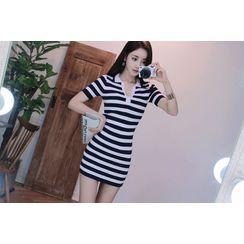 Babi n Pumkin - Stripe Ribbed Mini Polo Dress