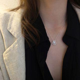 Metallique - Rhinestone Pendant Sterling Silver Necklace