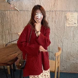 Guajillo - Cable Knit Cardigan / Spaghetti Strap Floral Print Midi Dress