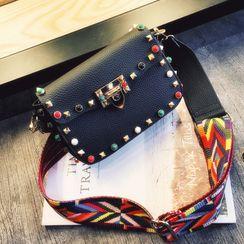 Denyard - Printed Strap Studded Crossbody Bag