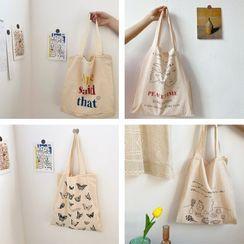 TangTangBags(タンタンバッグズ) - Printed Linen Cotton Shopper Bag