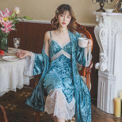 Ciambella - Pajama Set: Velvet Jacket + Spaghetti Strap Dress