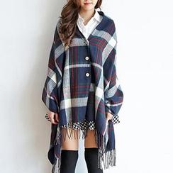 BAIMOMO - 流苏格纹围巾