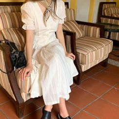 FROMBEGINNING - V-Neck Textured Long Shirtdress