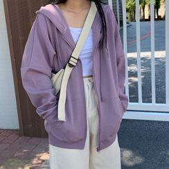 Ashlee - Hooded Zip Plain Fleece-Lining Sweatshirt Jacket