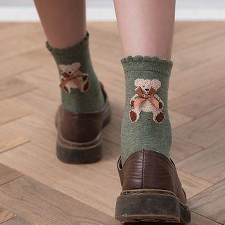 Sayaka - 熊印花亮面袜子