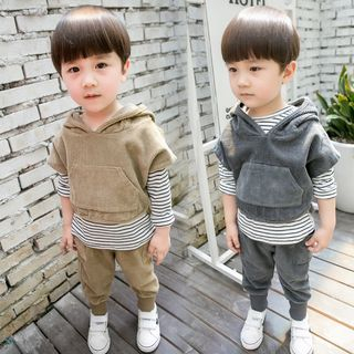 PAM - Kids Set: Striped Long-Sleeve T-Shirt + Hooded Vest + Pants