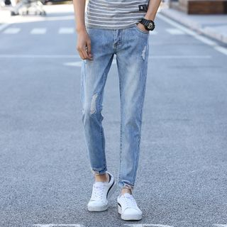 Denimic - Ripped Straight-Leg Jeans
