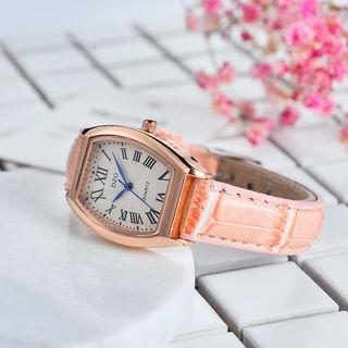 MODIYA - Roman Numeral Faux Leather Strap Watch
