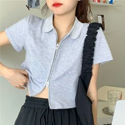 merryberry - Short-Sleeve Zip-Up Cropped Shirt