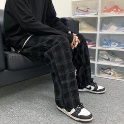 Zentrus - Plaid Wide Leg Corduroy Pants