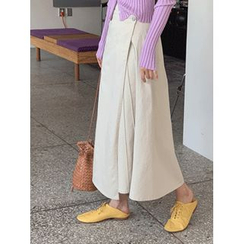 maybe-baby - Seam-Detail Wrap-Front Midi Skirt