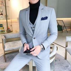 百高 - 套装: 格子单扣西装外套 + 单排扣马甲 + 西裤