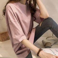Carmenta - Elbow-Sleeve Plain T-Shirt