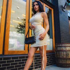 HERMITAKH - Ruched Sleeveless Bodycon Mini Dress