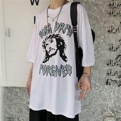 Banash - Elbow-Sleeve Printed T-Shirt