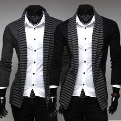 Hansel - Striped Trim Open Front Cardigan