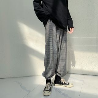 Vernanah - Drawstring Plaid Wide-Leg Pants